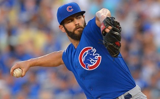 Aug 30, 2015; Los Angeles, CA, USA; Chicago Cubs starting pitcher Jake Arrieta (49) in the fifth inning of the game against the against the Los Angeles Dodgers at Dodger Stadium. Mandatory Credit: Jayne Kamin-Oncea-USA TODAY Sports